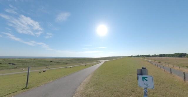 der deich am leuchtturm - Dicke Berta Cuxhaven | 360 Grad Video vom Leuchtturm