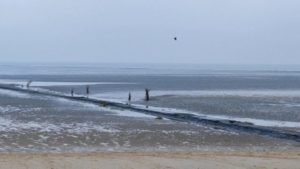 Travel in Germany Cuxhaven North Sea Kugelbake beach in fall / autum