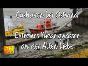 Die Alte Liebe bei Ostwind und extremem Niedrigwasser | Sturm Tristan in Cuxhaven