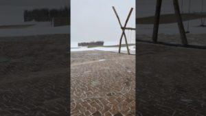 Schneegestöber an der Nordsee in Cuxhaven Döse
