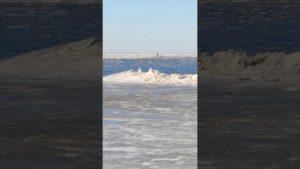Stark vereiste Nordsee in Cuxhaven