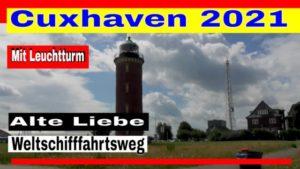 Cuxhaven Alte Liebe mit Schiff am Weltschifffahrtsweg Elbe