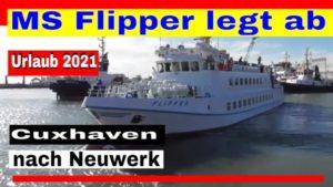 MS Flipper legt ab in Cuxhaven zur Fahrt nach Neuwerk