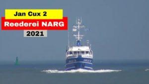 MS Jan Cux 2 der Reederei NARG auf der Elbe