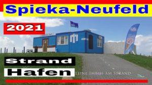 Spieka-Neufeld mit Nordsee Strand und dem Hafen mit Fischkutter